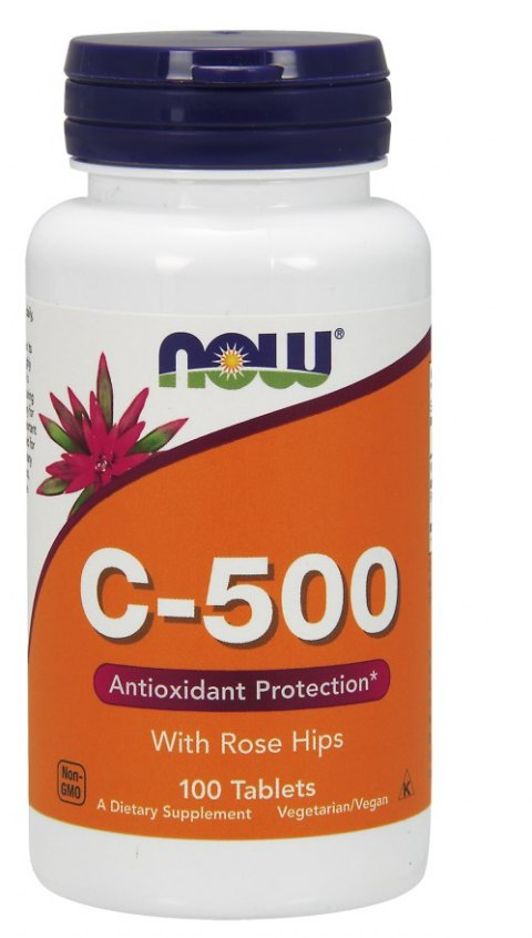 NOW FOODS Witamina C-500 with Rose Hips, 100tabl.